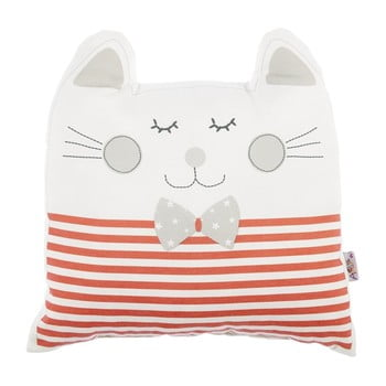 Pernă din amestec de bumbac pentru copii Mike & Co. NEW YORK Pillow Toy Big Cat, 29 x 29 cm, roșu bonami.ro