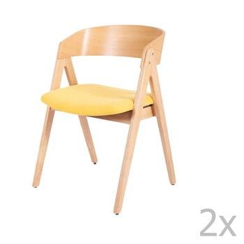 Set 2 scaune din lemn de cauciuc cu șezut galben sømcasa Rina bonami.ro