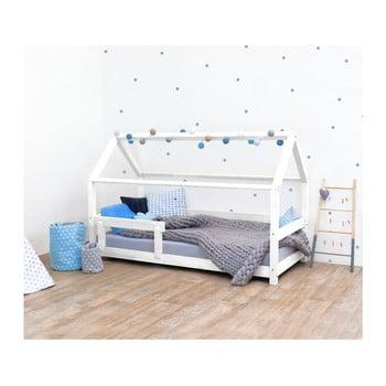 Pat pentru copii, din lemn de molid cu bariere de protecție laterale Benlemi Tery, 80 x 200 cm, alb