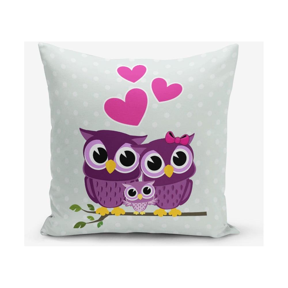 Față de pernă cu amestec din bumbac Minimalist Cushion Covers Hearts Owls, 45 x 45 cm