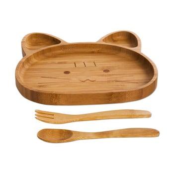 Set pentru copii cu platou și tacâmuri din lemn Bambum Cat bonami.ro