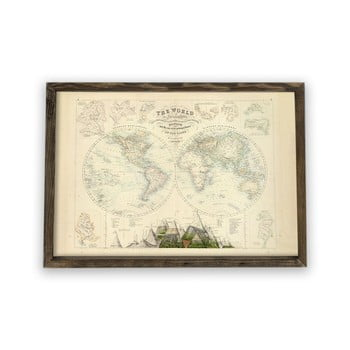Tablou cu ramă din lemn Globe, 70 x 50 cm poza bonami.ro