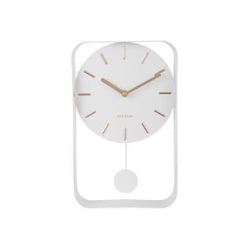 Ceas cu pendul Karlsson Charm, înălțime 32,5 cm, alb bonami.ro