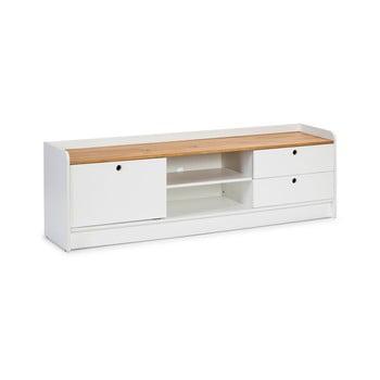 Masă TV cu blat în decor de lemn de pin Marckeric Monte, alb imagine