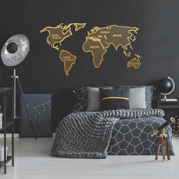 Decorațiune metalică pentru perete World Map In The Stripes, 150 x 80 cm, auriu imagine