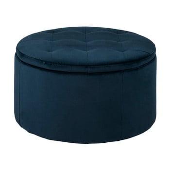 Otoman cu spațiu pentru depozitare Actona Vic, ⌀ 60 cm, albastru închis imagine