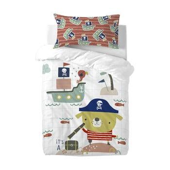 Lenjerie de pat din bumbac pentru copii Moshi Moshi Pirate, 100 x 120 cm poza bonami.ro