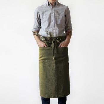 Șorț din in Linen Tales Garcon, lungime 76cm, verde măsliniu bonami.ro