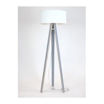 Lampadar cu abajur alb și cablu transparent Ragaba Wanda, gri poza bonami.ro