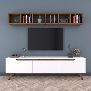 Set comodă TV și 1 etajeră de perete Rani, alb-natural imagine