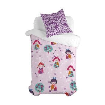 Lenjerie de pat din bumbac pentru copii Moshi Moshi Cherry Blossom, 140 x 200 cm poza bonami.ro