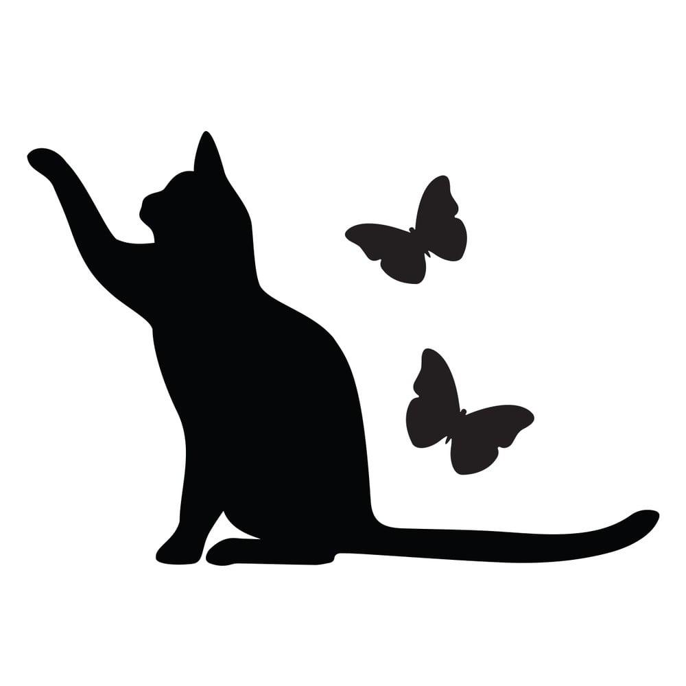 Autocolant pentru întrerupător Ambiance Cat, negru