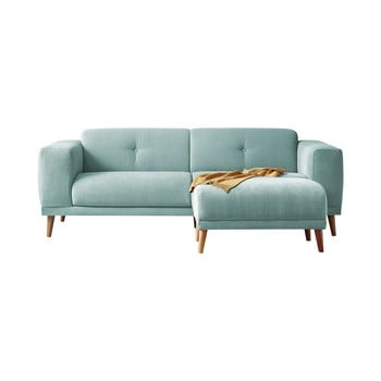 Canapea cu 3 locuri și taburet Bobochic Paris Luna, albastru pastelat imagine