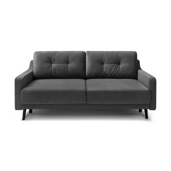 Canapea extensibilă cu 3 locuri, catifea Bobochic Paris Torp, gri închis imagine