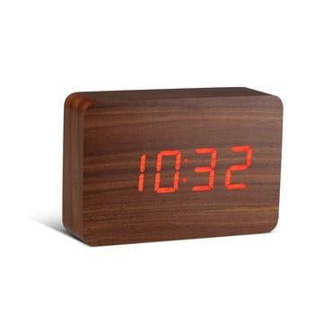 Ceas deșteptător cu LED Gingko Brick Click Clock, maro-roșu bonami.ro