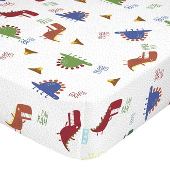 Cearșaf din bumbac pentru copii Moshi Moshi Funnysaurus,60x120cm bonami.ro