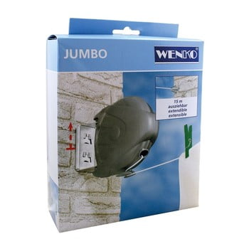 Sârmă de rufe extensibilă, Wenko Jumbo, 15 m lungime poza bonami.ro