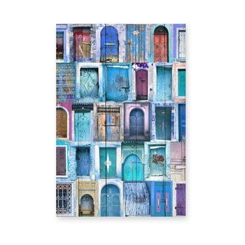 Tablou de perete din lemn de pin Really Nice Things Blue Doors, 40 x 60 cm bonami.ro
