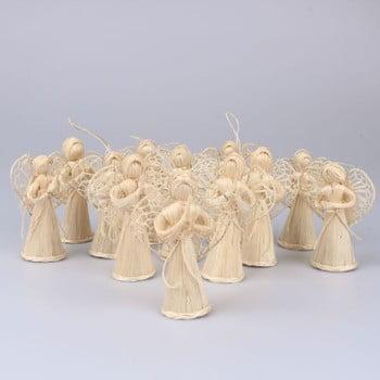 Set 12 decorațiuni din paie pentru Crăciun Dakls Eva, lungime 10 cm, formă înger poza bonami.ro