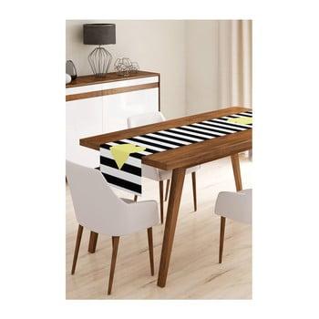 Napron din microfibră pentru masă Minimalist Cushion Covers Stripes with Yellow Heart, 45x145cm bonami.ro