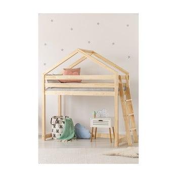 Cadru pat supraetajat din lemn de pin, în formă de căsuță Adeko Mila DMPBA, 90 x 200 cm imagine