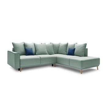Canapea extensibilă cu șezlong pe partea dreaptă Bobochic Paris Mola L, verde imagine