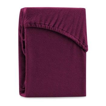Cearșaf elastic pentru pat dublu AmeliaHome Ruby Siesta, 220-240 x 220 cm, vișiniu închis bonami.ro