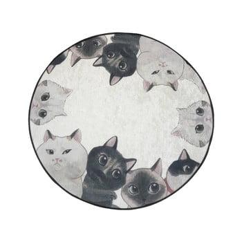 Covor baie Lismo Cats, ⌀ 100 cm, alb - gri bonami.ro