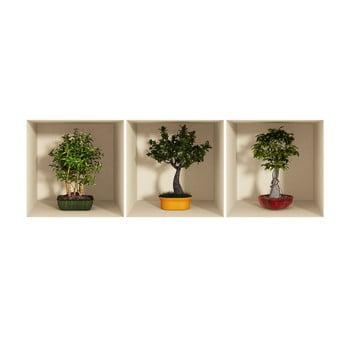 Set 3 autocolante cu efect 3D Ambiance Bonsai Trees bonami.ro