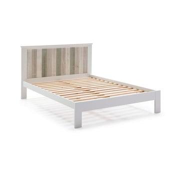 Pat cu picioare din lemn de pin Marckeric Maude, 140 x 200 cm, alb poza bonami.ro