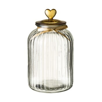 Recipient din sticlă cu capac Unimasa Heart, 5,4 l, auriu bonami.ro