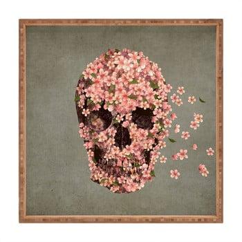 Tavă decorativă din lemn Flower Skull, 40x40cm bonami.ro