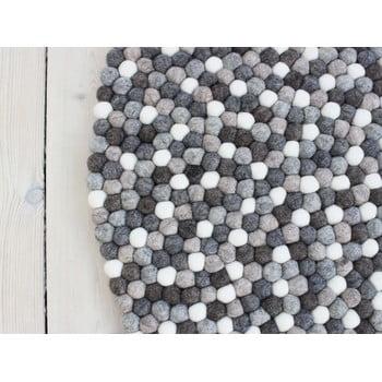 Covor cu bile din lână Wooldot Ball Rugs, ⌀ 120 cm, alb - gri imagine