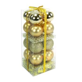 Set 16 decorațiuni de Crăciun și ghirlandă Unimasa Brightness, auriu bonami.ro