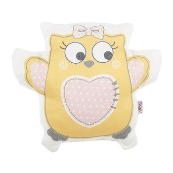 Pernă din amestec de bumbac pentru copii Mike&Co.NEWYORK Pillow Toy Owl, 32 x 26 cm, galben bonami.ro