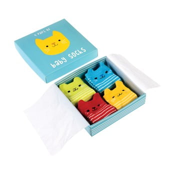 Set 4 perechi șosete pentru nou-născuți cu model cu pisici Rex London bonami.ro