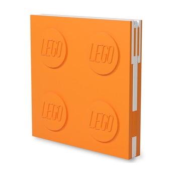 Jurnal pătrat cu pix cu gel LEGO®, 15,9 x 15,9 cm, portocaliu bonami.ro