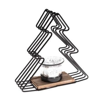 Sfeșnic metalic în formă de brad Dakls, înălțime 18 cm, negru bonami.ro