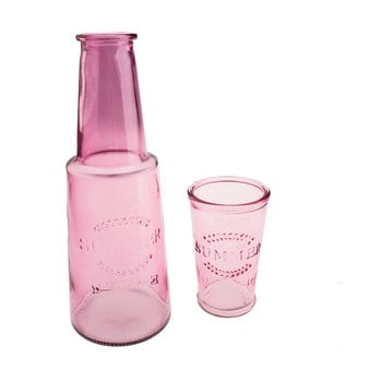 Carafă din sticlă cu pahar Dakls, 800 ml, roz poza bonami.ro