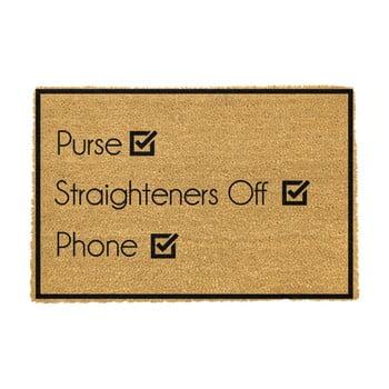 Covoraș intrare din fibre de cocos Artsy Doormats Purse Straighteners Phone 40 x 60 cm poza bonami.ro