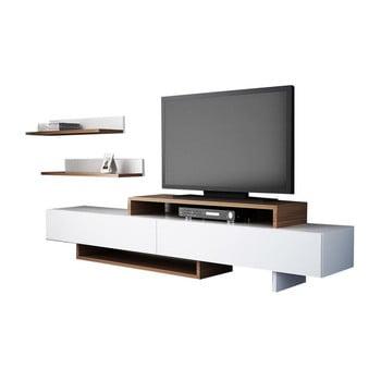 Set comodă TV și raft de perete cu aspect de lemn de tec Furny Home Nirvanas, alb poza bonami.ro