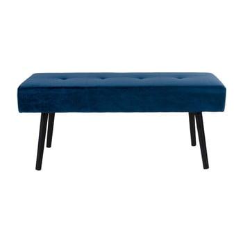 Bancă cu tapițerie de catifea House Nordic Skiby, 100 x 35 cm, albastru închis bonami.ro