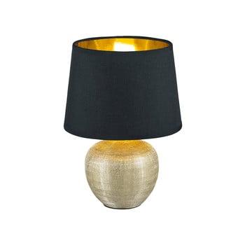 Veioză din ceramică și pânză Trio Luxor, înălțime 26 cm, negru poza bonami.ro