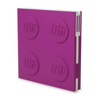 Jurnal pătrat cu pix cu gel LEGO®, 15,9 x 15,9 cm, roz fucsia bonami.ro