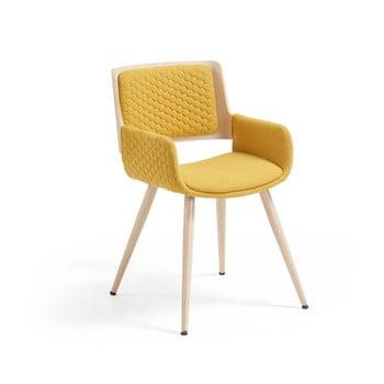 Scaun cu picioare și cotiere metalice La Forma Andre, galben muștar bonami.ro