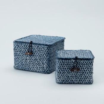 Set 2 coșuri depozitare din stuf Compactor Lidwhite, albastru poza bonami.ro