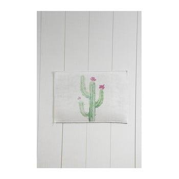 Covor baie Tropica Cactus III, 60 x 40 cm, alb - verde poza bonami.ro