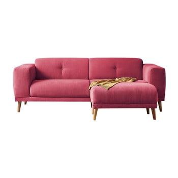 Canapea cu taburet Bobochic Paris Luna, roșu bonami.ro
