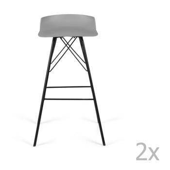Set 2 scaune de bar Tenzo Tori, gri bonami.ro