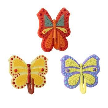 Set 3 cârlige autoadezive Metaltex Butterfly, colorate bonami.ro